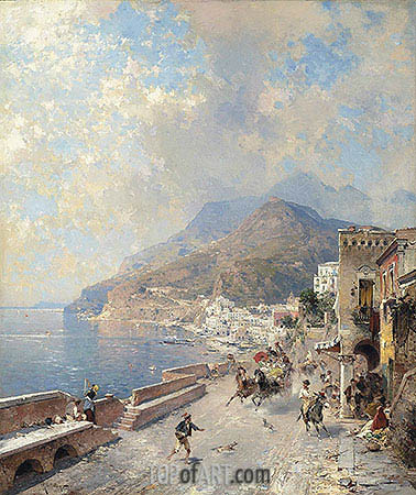 Gulf of Salerno, Amalfi, undated | Unterberger| Painting Reproduction
