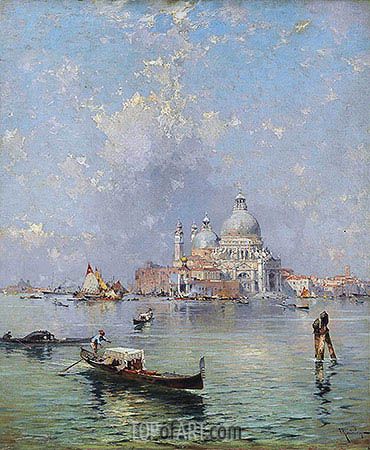 Gondolas in front of the Santa Maria della Salute, Venice, undated | Unterberger | Painting Reproduction