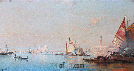 A View across the Lagoon towards the Grand Canal, c.1880/82 | Unterberger| Painting Reproduction