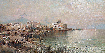 Torre del Greco, Bay of Naples, undated | Unterberger | Painting Reproduction