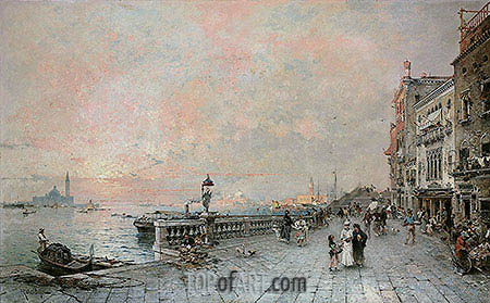 Unterberger | The Riva dei sette Martiri, looking towards the Ponte de la Veneta Marina, Venice, 1894