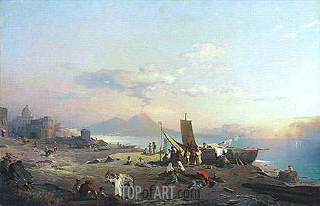 Fisherfolk on the Shore, Vesuvius beyond, 1869 | Unterberger| Painting Reproduction