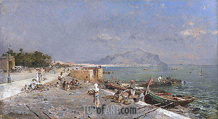 On the Waterfront, Palermo, undated | Unterberger| Painting Reproduction