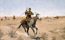 The Flight (A Sage-Brush Pioneer), 1895 by Frederic Remington | Painting Reproduction