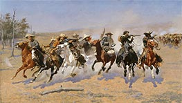 A Dash for the Timber, 1889 by Frederic Remington | Painting Reproduction
