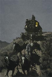 The Old Stage-Coach of the Plains, 1901 von Frederic Remington | Gemälde-Reproduktion