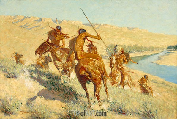 Episode of the Buffalo Gun, 1909 | Frederic Remington | Painting Reproduction