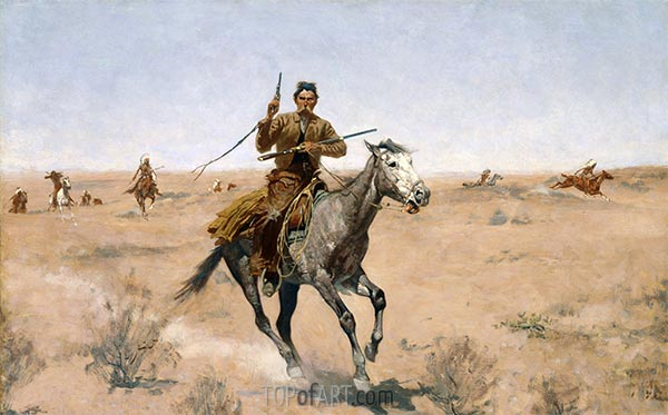 The Flight (A Sage-Brush Pioneer), 1895 | Frederic Remington | Painting Reproduction
