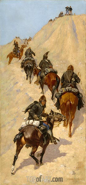 Scouts Climbing a Mountain, 1891 | Frederic Remington | Painting Reproduction