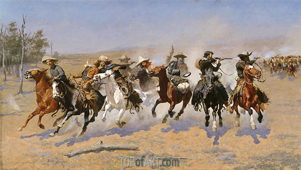 A Dash for the Timber, 1889 | Frederic Remington | Painting Reproduction