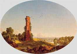 New England Landscape with Ruined Chimney, 1846 by Frederic Edwin Church | Painting Reproduction