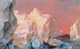 Icebergs and Wreck in Sunset, c.1860 by Frederic Edwin Church | Painting Reproduction