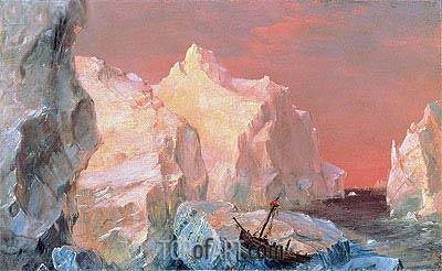 Icebergs and Wreck in Sunset, c.1860 | Frederic Edwin Church| Painting Reproduction
