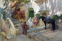 A Street Scene in Algeria, undated by Frederick Arthur Bridgman | Painting Reproduction