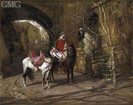 Horseman in a Courtyard, 1889 by Frederick Arthur Bridgman | Painting Reproduction
