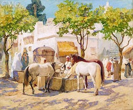 At the Fountain, Algiers, undated by Frederick Arthur Bridgman | Painting Reproduction
