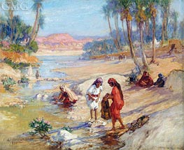 Women Washing Clothes in a Stream | Frederick Arthur Bridgman | Painting Reproduction