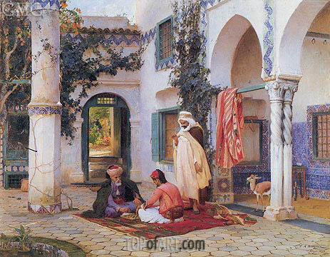 The Courtyard, 1873 | Frederick Arthur Bridgman | Painting Reproduction