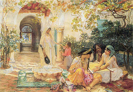 Frederick Arthur Bridgman | In the Courtyard, El Biar, undated