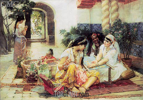 Frederick Arthur Bridgman | In the Courtyard, El Biar, 1889
