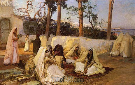 Women at the Cemetery, Algiers, undated | Frederick Arthur Bridgman | Painting Reproduction