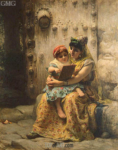 The Reading Lesson, 1880 | Frederick Arthur Bridgman | Gemälde Reproduktion