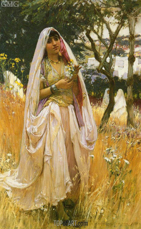 Moorish Girl, Algiers Countryside, 1880 | Frederick Arthur Bridgman | Painting Reproduction