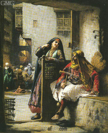 Almeh Flirting with an Armenian Policeman, Cairo, undated | Frederick Arthur Bridgman | Painting Reproduction
