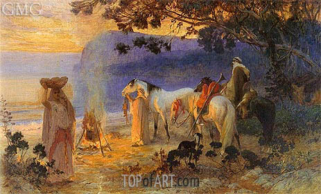 On The Coast Of Kabylie, undated | Frederick Arthur Bridgman | Painting Reproduction
