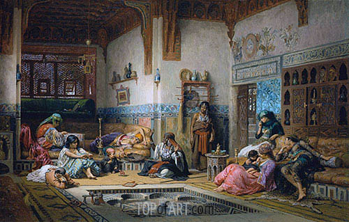 The Nubian Story Teller in the Harem, 1875 | Frederick Arthur Bridgman | Painting Reproduction