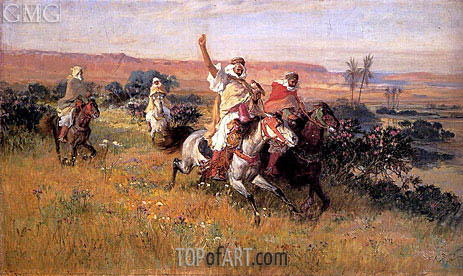 The Falcon Hunt, undated | Frederick Arthur Bridgman | Painting Reproduction