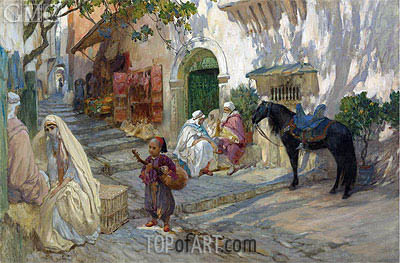 A Street Scene in Algeria, undated | Frederick Arthur Bridgman | Painting Reproduction