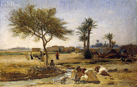 Frederick Arthur Bridgman | An Arab Village, 1879