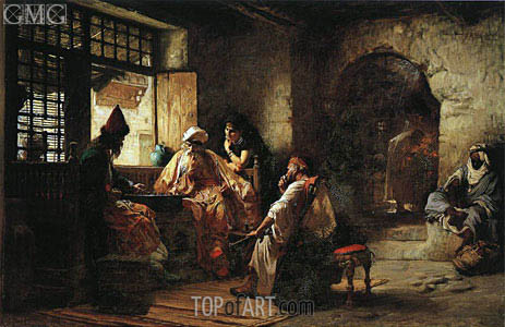 An Interesting Game, 1881 | Frederick Arthur Bridgman | Painting Reproduction