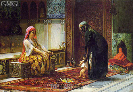 Frederick Arthur Bridgman | Mother and Child (The First Steps), 1878