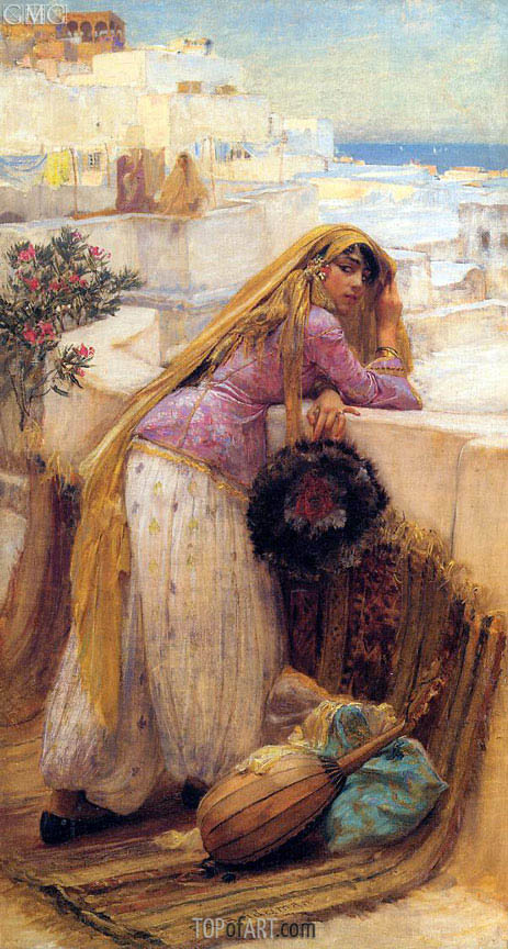 On the Terrace, undated | Frederick Arthur Bridgman | Painting Reproduction