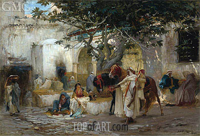Courtyard in Algeria, 1883 | Frederick Arthur Bridgman | Painting Reproduction