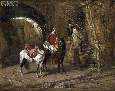 Horseman in a Courtyard, 1889 | Frederick Arthur Bridgman | Painting Reproduction