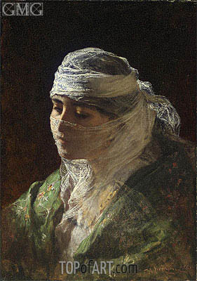 A Veiled Beauty of Constantinople, 1880 | Frederick Arthur Bridgman | Painting Reproduction