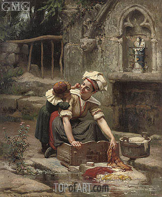 Mother's Little Helper , 1874 | Frederick Arthur Bridgman | Gemälde Reproduktion