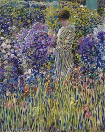 Lady in a Garden, c.1912 by Frederick Frieseke | Painting Reproduction