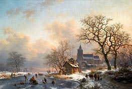 A Winter Landscape with Skaters on a Frozen River, 1867 by Kruseman | Painting Reproduction