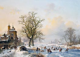 Winter Landscape with Skaters near a Castle, undated by Kruseman | Painting Reproduction