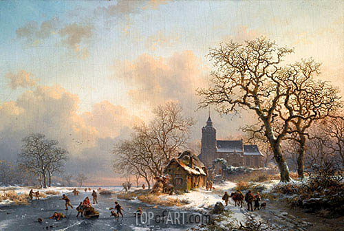 Kruseman | A Winter Landscape with Skaters on a Frozen River, 1867