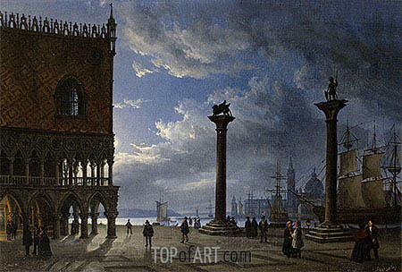 Friedrich Nerly | Piazza San Marco by Moonlight, 1847