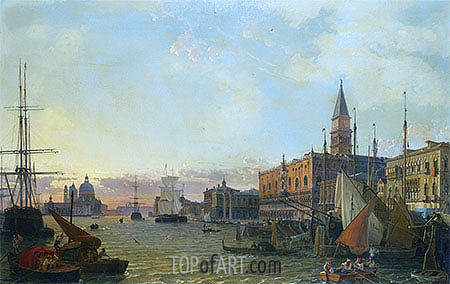 The Riva degli Schiavoni, Venice, 1842 | Friedrich Nerly| Painting Reproduction