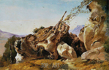 Study of Rocks and Roots at Olevano, undated | Friedrich Nerly| Painting Reproduction