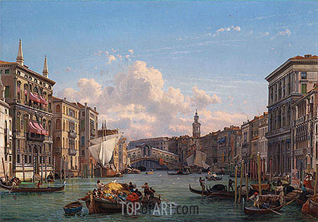 Friedrich Nerly | A View of the Grand Canal Looking towards the Rialto Bridge, Venice, undated