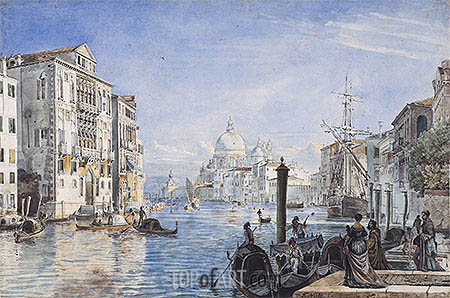 Venice: Canal Grande, Palazzo Cavallo Franchetti, Santa Maria della Salute and Dogana del Mar, c.1838/39 | Friedrich Nerly| Painting Reproduction