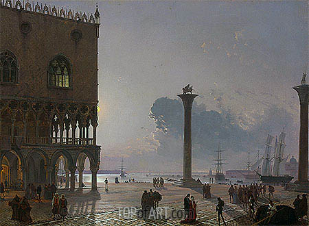 A Moonlit View of the Piazza San Marco towards San Giorgio Maggiore, 1849 | Friedrich Nerly | Painting Reproduction